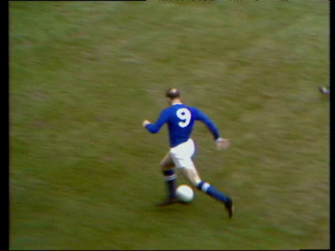 Andy Lockhead passes inside to Allan Clarke Len Glover creates space with dummy run as Clarke's curling shot is saved by Harry Dowd Leicester City vs...