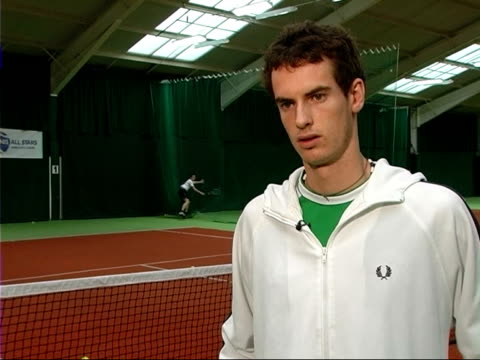 Andy Murray advises young players/ hit by ball Andy Murray interview SOT On the importance of introducing children to playing tennis Murray hit by...