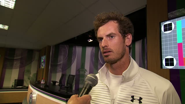 Andy Murray has won the Wimbledon men's singles title for the second time Shows tennis player Andy Murray being interviewed