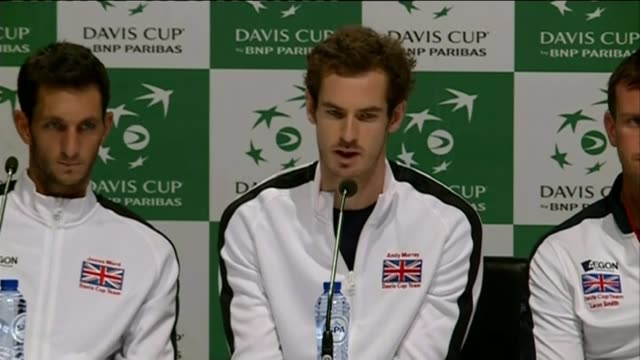 andy murray interview ahead of davis cup final; andy murray press conference sot - looking at it as belgium vs me is counter productive - davis cup stock videos & royalty-free footage