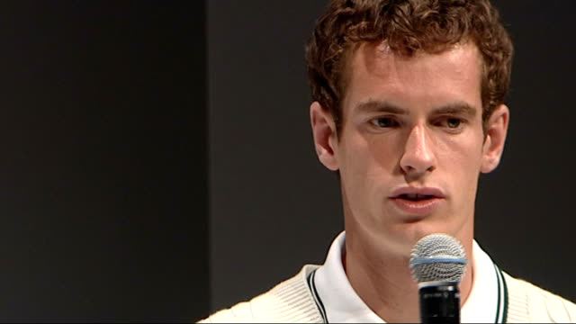 andy murray models new fred perry sportswear in fashion show andy murray interviewed by female host on stage sot discusses wimbledon tournament and... - digital camera stock videos and b-roll footage