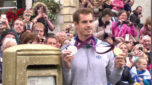 andy murray poses by gold post box on september 16 2012 in dunblane scotland - 2012 stock videos & royalty-free footage