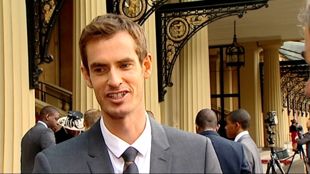 andy murray receives obe from prince william ext andy murray interview sot on prince william's handwriting not being as good as his wife's very nice... - order of the british empire stock videos and b-roll footage