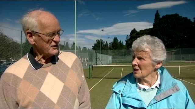 report from dunblane scotland dunblane ext donald mcnaughton interview sot he played much better in olympics / that carried him into the us open... - ダンブレーン点の映像素材/bロール
