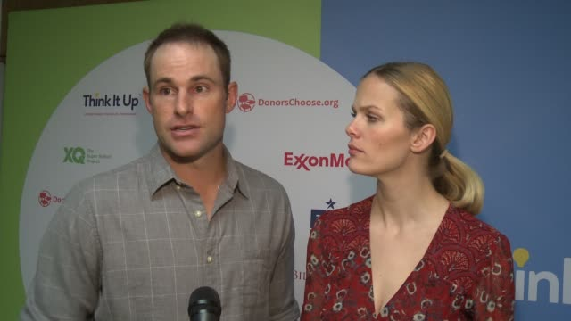 chyron andy roddick and brooklyn at think it up live austin at david crockett high school on march 10 2016 in austin texas - andy roddick stock videos and b-roll footage