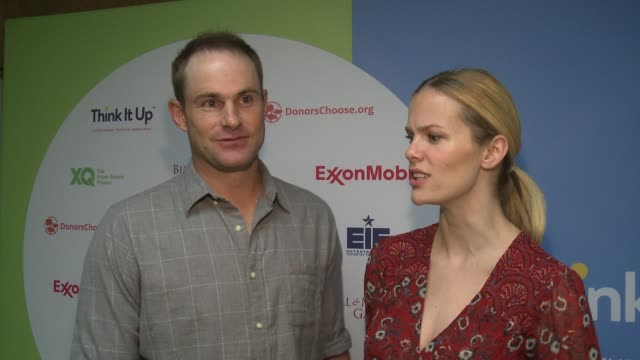 interview andy roddick and brooklyn decker at think it up live austin at david crockett high school on march 10 2016 in austin texas - andy roddick stock videos and b-roll footage