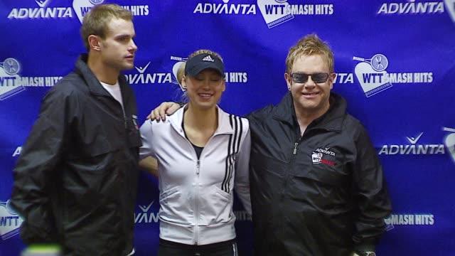Andy Roddick Sir Elton John and Anna Kournikova at the Advanta Presents WTT Smash Hits Celebrity Tennis Tournament at Bren Center University of...