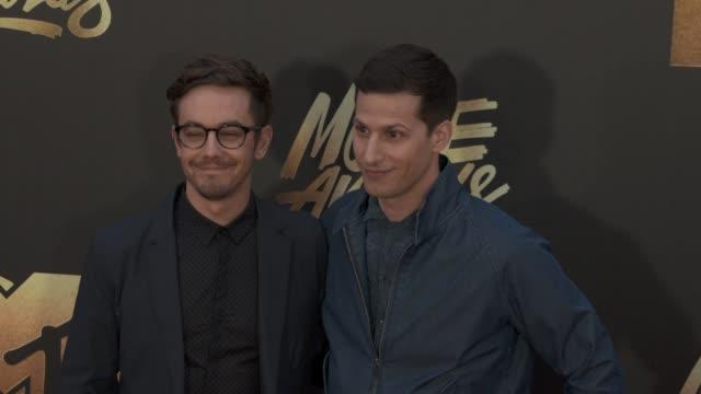 Andy Samberg and Jorma Taccone at the 2016 MTV Movie Awards at Warner Bros Studios on April 9 2016 in Burbank California