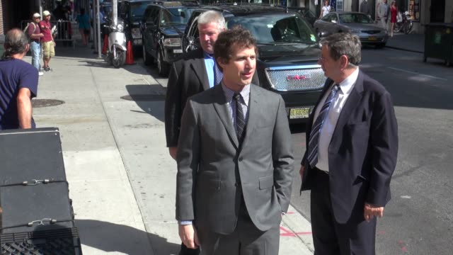 Andy Samberg at the 'Late Show with David Letterman' studio in New York NY on 08/13/12