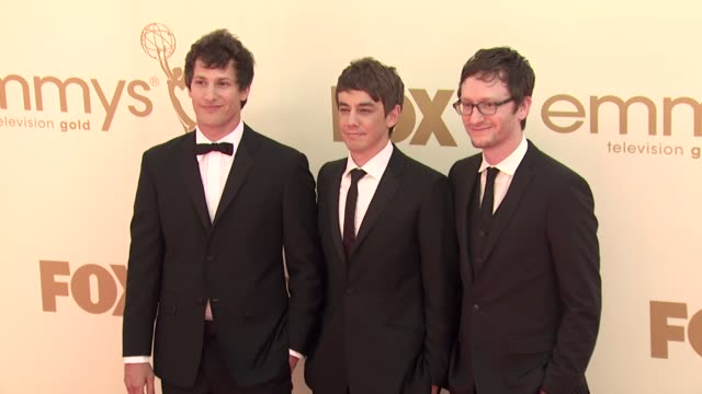 andy samberg jorma taccone akiva schaffer at the 63rd primetime emmy awards arrivals part 1 at los angeles ca - エミー賞点の映像素材/bロール