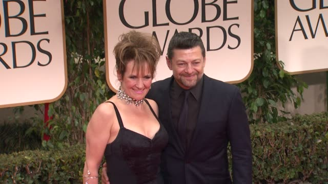 andy serkis and lorraine ashbourne at 69th annual golden globe awards - arrivals on january 15, 2012 in beverly hills, california - andy serkis stock videos & royalty-free footage