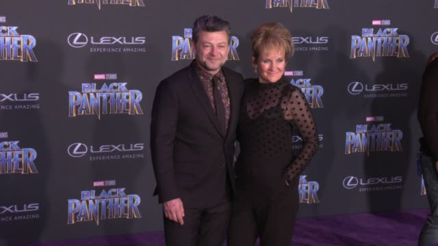 Andy Serkis and Lorraine Ashbourne at the Marvel Studios' 'Black Panther' World Premiere at Dolby Theatre on January 29 2018 in Hollywood California