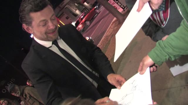 andy serkis greets fans at the 2012 critics choice movie awards after party in hollywood - andy serkis stock videos & royalty-free footage