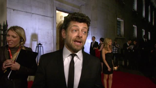 andy serkis on presenting the award for best newcomer, burke & hare, the hobbit being filmed in new zealand, not being able to 'do' gollum at the... - the hobbit stock videos & royalty-free footage
