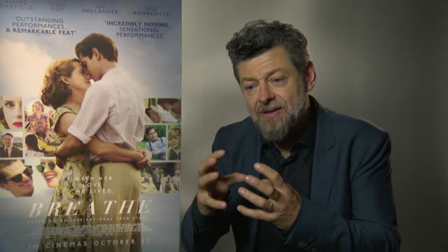 andy serkis on the love story that comes out of a terrible story, being near death can make you live your life more at 'breathe' junket - 61st bfi... - andy serkis stock videos & royalty-free footage