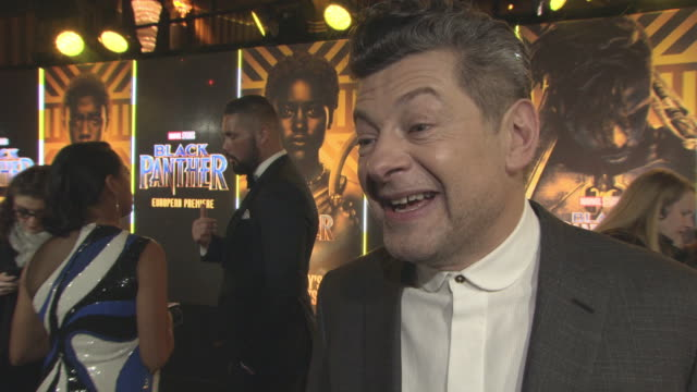 andy serkis on working on the film, his character, his motion capture roles and the work that goes in them at 'black panther' european premiere at... - andy serkis stock videos & royalty-free footage