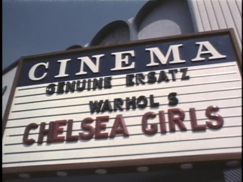 vídeos de stock, filmes e b-roll de andy warhol's movie chelsea girls plays at the cinema theater in los angeles california - vanguardista