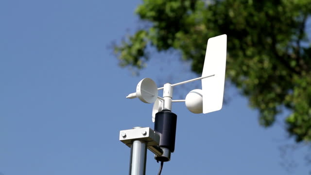 Anemometer and Devices meteorological station on the blue sky background