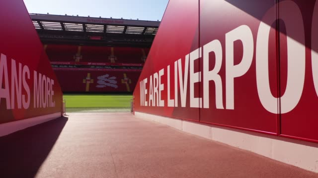 anfield stadium, the home liverpool football club during the coronavirus pandemic lockdown at anfield on april 20, 2020 in liverpool, england. amid... - liverpool england stock videos & royalty-free footage