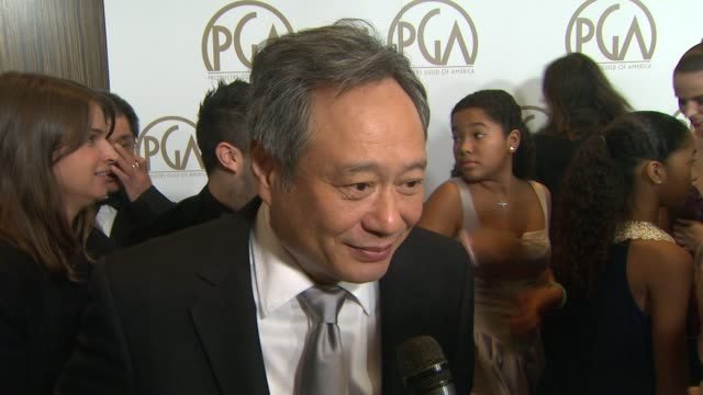 interview ang lee on being here's with his peers on what makes a good producer at the 24th annual producers guild of america awards on 1/26/13 in... - プロデューサー点の映像素材/bロール