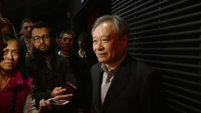 interview ang lee on the death of alan rickman at the 88th annual academy awards nominations at the academy of motion picture arts and sciences on... - 映画芸術科学協会点の映像素材/bロール