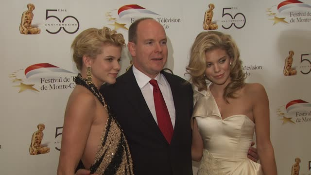angel mccord hsh prince albert ii of monaco annalynne mccord at the monte carlo television festival cocktail party at beverly hills ca - monaco royalty stock videos & royalty-free footage