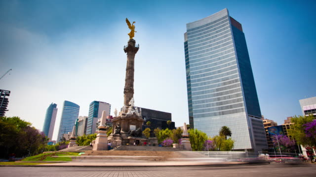 stockvideo's en b-roll-footage met time lapse: angel of independence mexico city - mexico stad
