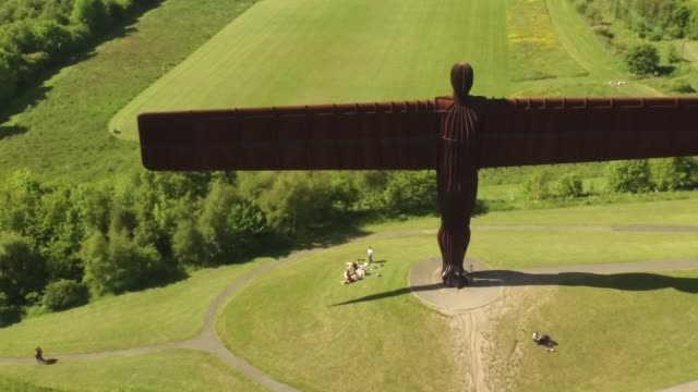 Angel of the North - aerial front tracking shot