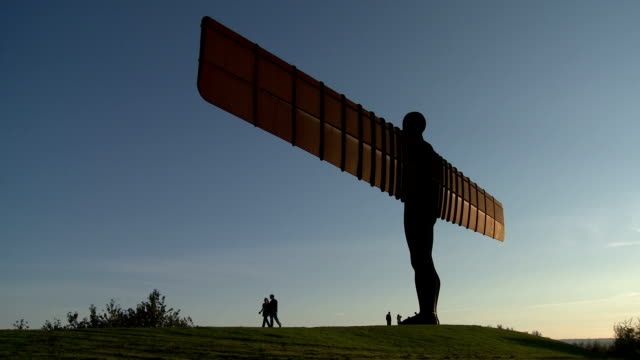 angel of the north at dusk - angel stock videos and b-roll footage
