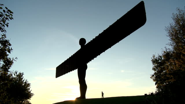 angel of the north at dusk - angel of the north stock videos and b-roll footage