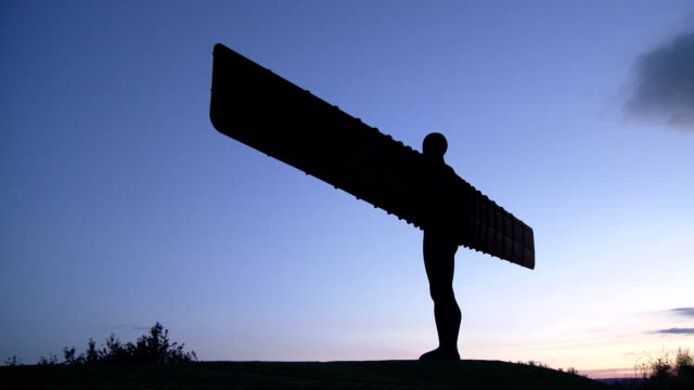angel of the north at dusk - gateshead stock videos and b-roll footage