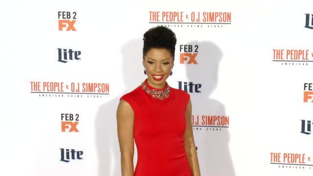 angel parker at fx's the people v oj simpson american crime story premiere at westwood village theatre on january 27 2016 in westwood california - westwood village stock-videos und b-roll-filmmaterial