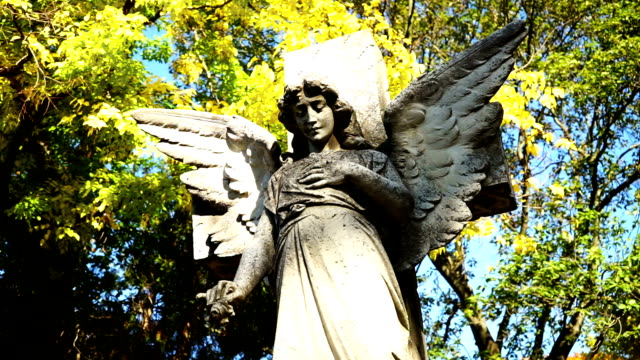 angel statue cemetery - statue stock videos & royalty-free footage