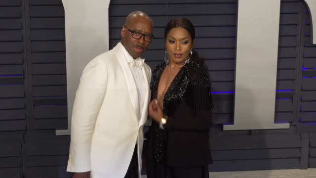 angela bassett and courtney b. vance at 2019 vanity fair oscar party hosted by radhika jones at wallis annenberg center for the performing arts on... - angela bassett stock videos & royalty-free footage