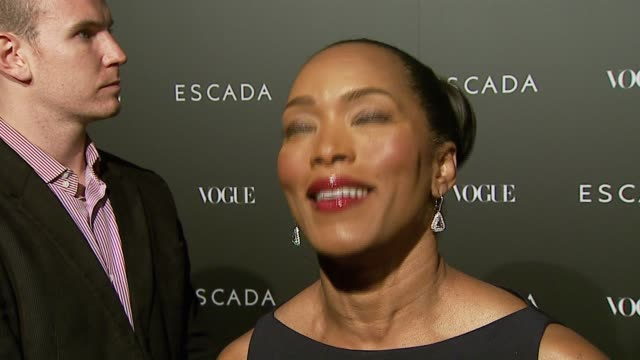 angela bassett on her escada dress being stylish and comfortable and on the store opening at the the grand opening of the beverly hills flagship... - escada stock-videos und b-roll-filmmaterial