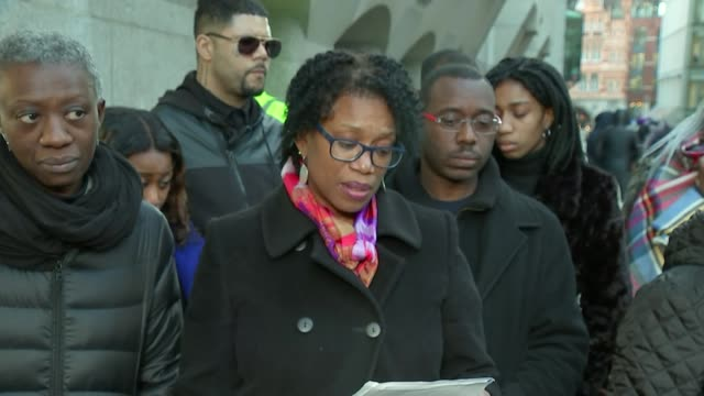Family statement outside court ENGLAND London The Old Bailey EXT Family walking out of court Lorraine Jones statement to press SOT Family away