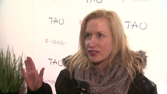 angela kinsey on google and on what she's working on now at tmobile presents google music at tao day 2 in park city utah on 1/21/2012 - angela kinsey stock videos and b-roll footage