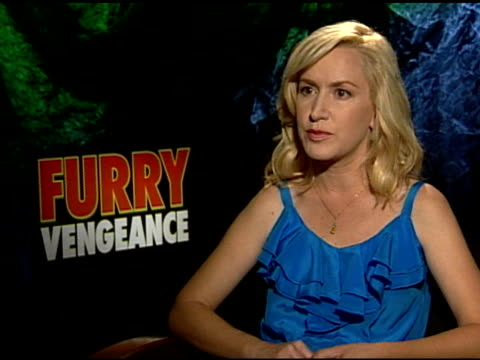 angela kinsey on kids absorbing the story at the 'furry vengeance' junket at los angeles ca - angela kinsey stock videos and b-roll footage