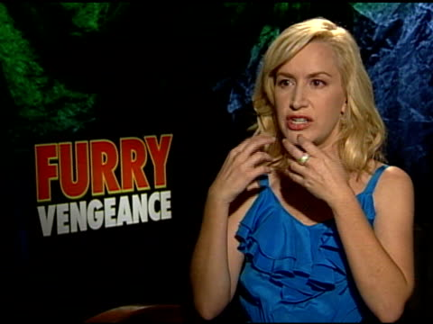 angela kinsey on the animals being real at the 'furry vengeance' junket at los angeles ca - angela kinsey stock videos and b-roll footage