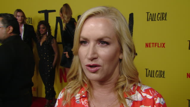 interview angela kinsey on the movie and her character and behind the scenes at the netflix tall girl special screening in los angeles ca - angela kinsey stock videos and b-roll footage