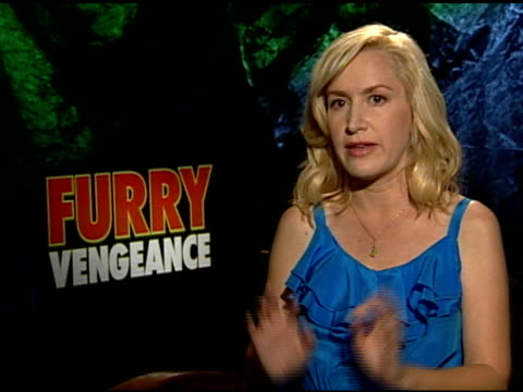 angela kinsey on watching shows with her daughter at the 'furry vengeance' junket at los angeles ca - angela kinsey stock videos and b-roll footage