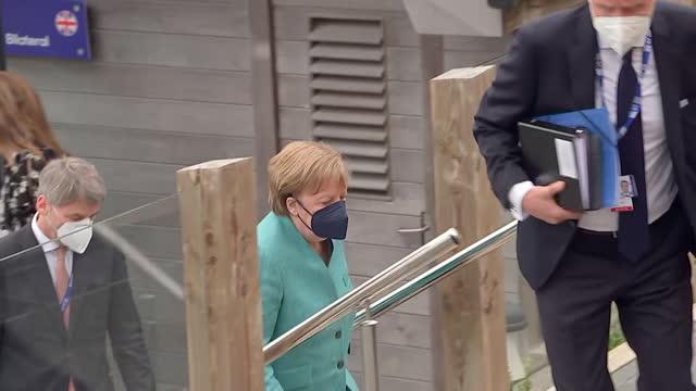 angela merkel, german chancellor, leaves bilateral meeting with boris johnson, during g7 summit, with entourage and husband joachim sauer, carbis... - husband stock videos & royalty-free footage