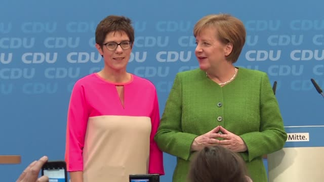 angela merkel on monday tapped the popular female premier of germany's tiny saarland state to take over as secretary general of her conservative... - nachfolger stock-videos und b-roll-filmmaterial