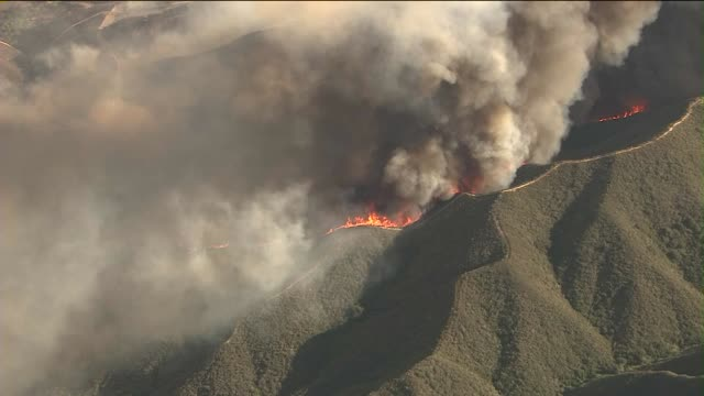 ktla angeles national forest fire aerials on may 30 2013 in santa clarita california - angeles national forest stock videos and b-roll footage
