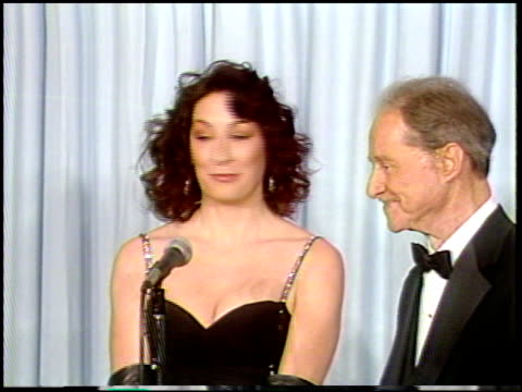 Angelica Huston at the 1987 Academy Awards at Dorothy Chandler Pavilion in Los Angeles California on March 30 1987