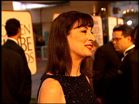 Angelica Huston at the 1998 Golden Globe Awards at the Beverly Hilton in Beverly Hills California on January 18 1998