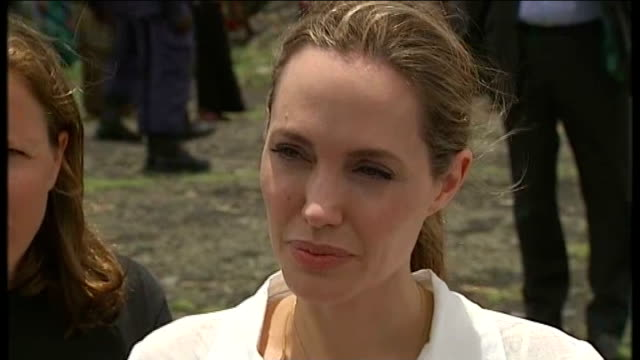 Angelina Jolie and William Hague visit Nzolo IDP camp DEMOCRATIC REPUBLIC OF CONGO North of Goma Nzolo IDP camp EXT Angelina Jolie and William Hague...