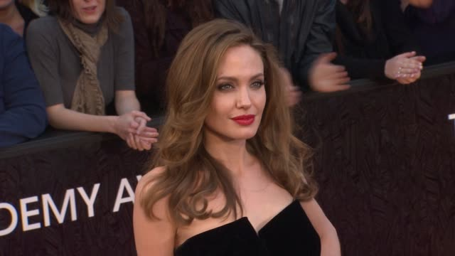 angelina jolie at 84th annual academy awards - arrivals on 2/26/12 in hollywood, ca. - academy awards stock videos & royalty-free footage