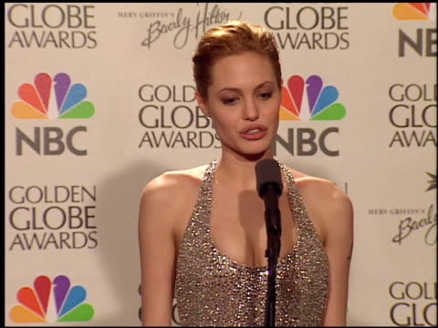 angelina jolie at the 1999 golden globe awards at the beverly hilton in beverly hills, california on january 24, 1999. - 1999 stock videos & royalty-free footage