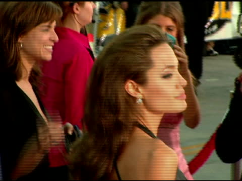 angelina jolie at the 'mr and mrs smith' world premiere at the mann village theatre in westwood, california on june 7, 2005. - angelina jolie stock videos & royalty-free footage